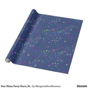 star_shine_party_stars_midnight_blue_wrapping_paper
